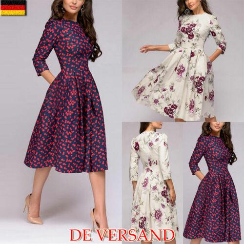 Damen Swing Langarm Shirtkleid Geblümt Freizeitkleid Vintage Slim Hemdkleid DE