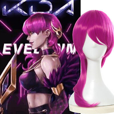 League of Legends LOL K/DA Evelynn Hot Pink Long Cosplay Wig Pop Star Full - Hot Pink Wigs