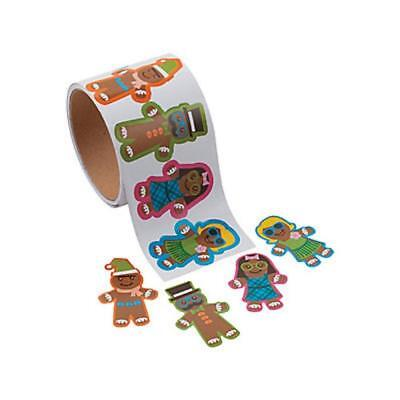 1 ROLL (100 Stickers) SILLY GINGERBREAD MAN Christmas Holiday Gift Wrap Stickers ()