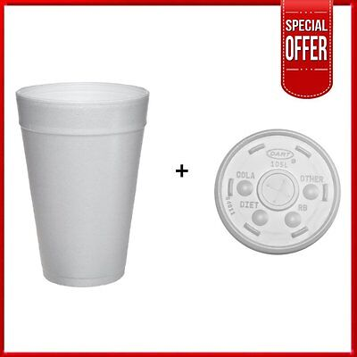 Dart 32TJ32, 32 Oz. White Foam Plastic Cup with Slotted Lid, CASE OF 100