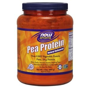 NOW Foods Pea Protein 100% Pure Non-GMO Vegetable Protein Unflavored - 2 lb