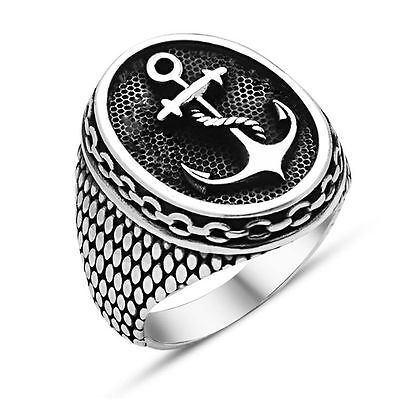 Navy Marine Seal Anchor Retired Ship Captain Elegant Stainless Steel Men's (Navy Mens Ring)