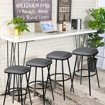 Set of 4 Metal Bar Stools Counter Pub Shop Kitchen Dining Chairs Heavy-Duty Z1F3