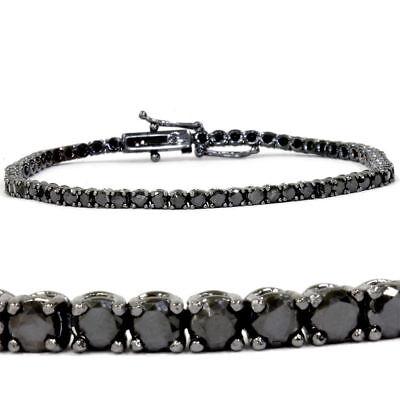 Women's 4.00 CT Black Diamond 18K Black Gold Over Silver Tennis Bracelet 7