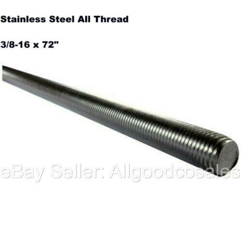 "Stainless Steel All Thread 3/8-16 x 72"" Threaded Rod Grade 304 6 Ft. Length"