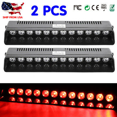 2X12 LED Strobe Lamps SUV ATV Hazard Emergency Flashing Warning Light Bar RED