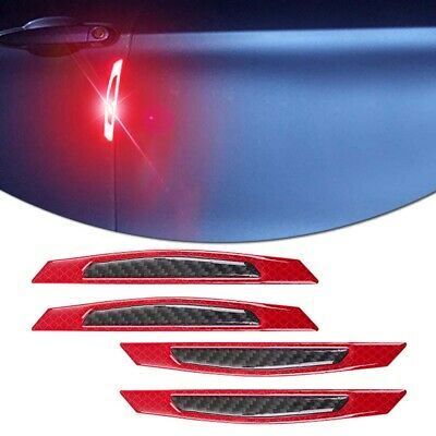 4X Universal Car Carbon Fiber Reflective Red Door Edge Guard Decor Trim Stickers