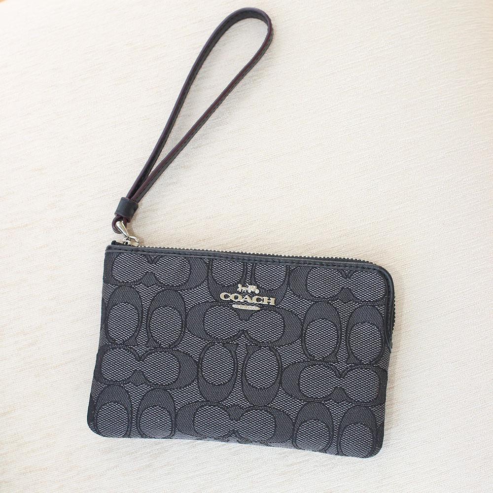 New Coach F58032 F58035 Corner Zip Wristlet With Gift Box New With Tags Black Smoke Jacquard
