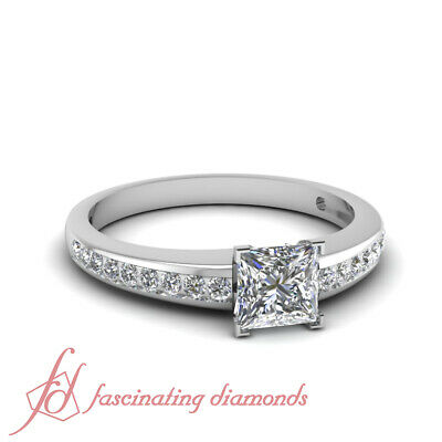 Channel Set Engagement Ring With Affordable Princess Cut Diamond GIA 0.70 Carat