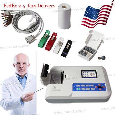 Us Seller Digital 3 Channel 12-lead Ecgekg Machine Electrocardiograph Color Lcd