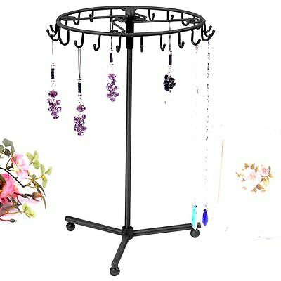 Jewelry Necklace Earring Tree Rotating Rack Stand Display Organizer Holder Black