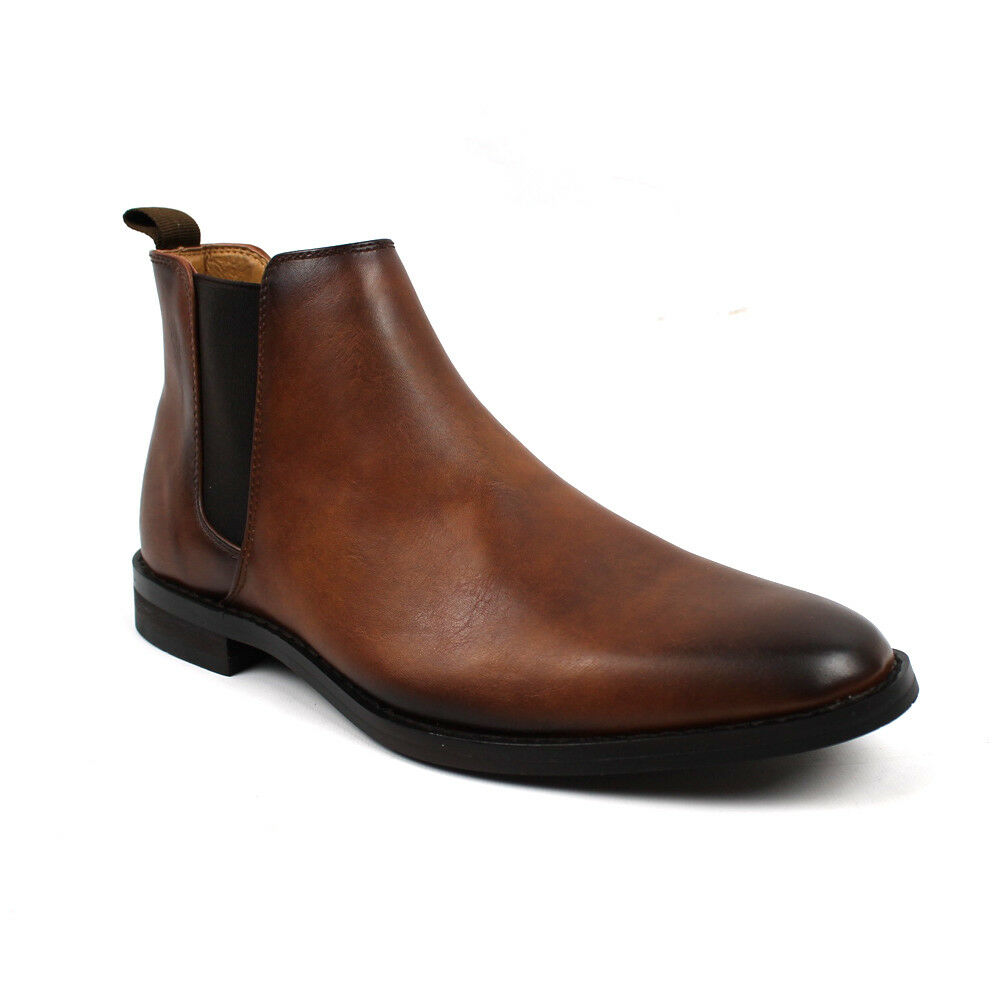 Men's Ankle Dress Boots Slip On Almond Round Toe Leather Chelsea Jaxson B1851