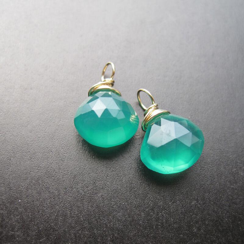 2 Green Onyx Wire Wrapped Gemstone Drops