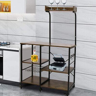 Kitchen Storage Cart Microwave Oven Rack Utility Workstation Stand Shelf w/ Hook