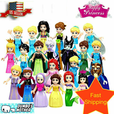 Disney Frozen Princess Minifigures Elsa Anna Cinderella Ariel Aurora Beast Belle