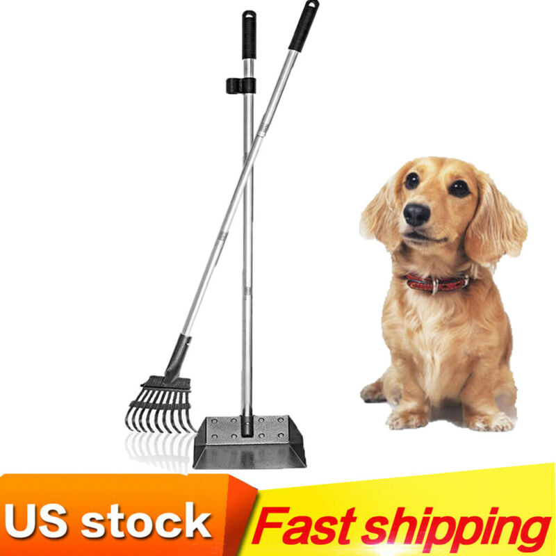 Stainless Steel Pooper-Scooper with Long Adjustable Stainless Metal Handle