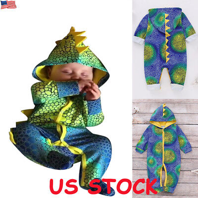 Newborn Infant Baby Boy Girl 3D Dinosaur Hoodie Romper Jumpsuit Clothes Outfit - Dinosaur Baby Outfit