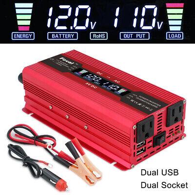 5000w Car Vehicle Power Inverter Converter DC 12v to AC 110v Camp Trip LCD USB