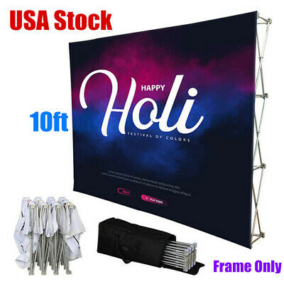 Us 10ft Tension Fabric Pop Up Display Backdrop Trade Show Exhibition Booth Wall