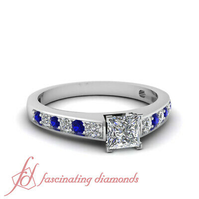 3/4 TCW. Princess Cut Diamond & Round Blue Sapphire Pave Set Engagement Ring GIA