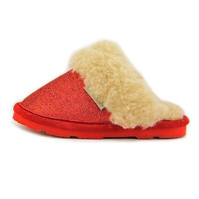 Bearpaw Kids Slippers (Bearpaw Laney Textile Red glitter sheepkin shearling Slipper kids toddler)