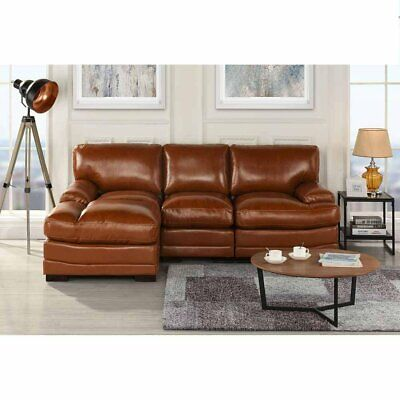 Light Brown Leather Match Sectional Sofa LShape Modern Left Facing Chaise Lounge