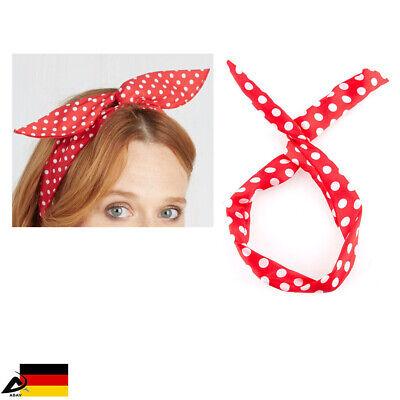 ckabilly Stirnband Haarschmuck Haarband Polka Punkt Dots (Stirnband Rot)