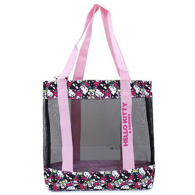 Sanrio Hello Kitty Mesh Tote Bag Kitty Friends  Beach Bag Grocery Picnic Gym