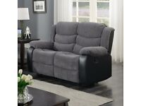 grey 2 seater sofa fabric recliner