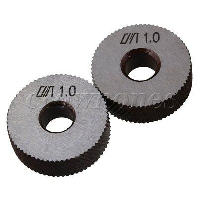 2pcs Knurling Tool Silver Steel Diagonal Wheel Linear Knurl 1mm Pitch 26x8x8mm