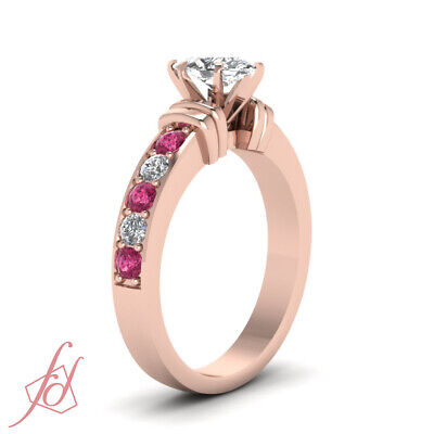 1.50 Carat Rose Gold Marquise Cut Diamond Rings With Pink Sapphire Gemstone GIA 2