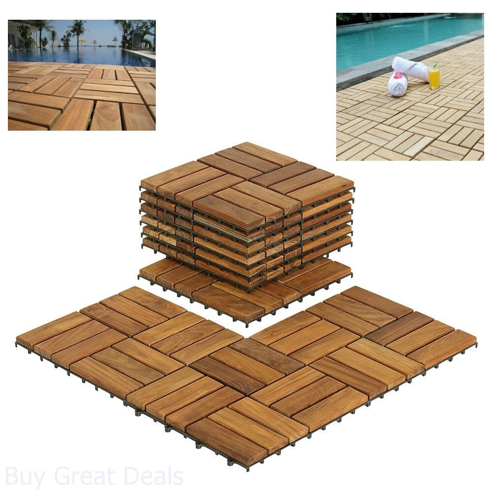 Details About Wooden Floor Tiles Interlocking Solid Teak Wood Outdoor Spa Patio Pool Bathroom