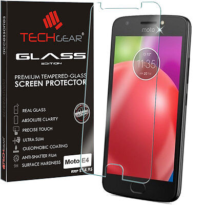 Genuine TECHGEAR TEMPERED GLASS Screen Protector Cover for Motorola Moto E4