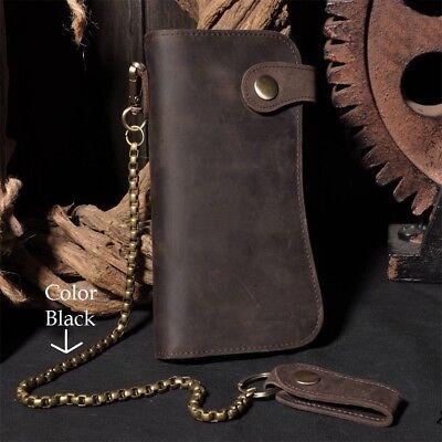 Men's Leather Bifold Card Holder Checkbook Trucker Biker Long Wallet Iron Chain