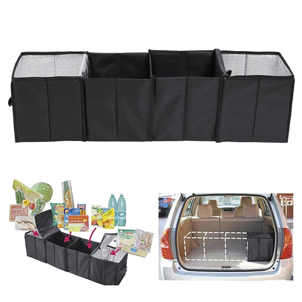 Suv Cargo Organizer >> Details About Trunk Cargo Organizer Collapsible Folding Storage Bag Bin Suv Van Car Bag Black