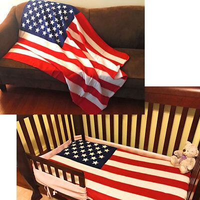 USA American Flag Patriotic Throw Soft Fleece Blanket 50x60 Bedding Decor Gift](White Fleece Blanket)