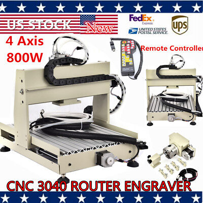 4axis 800w 3040 Cnc Vfd Router Engraver Engraving Machine Wood Carvinghandwheel
