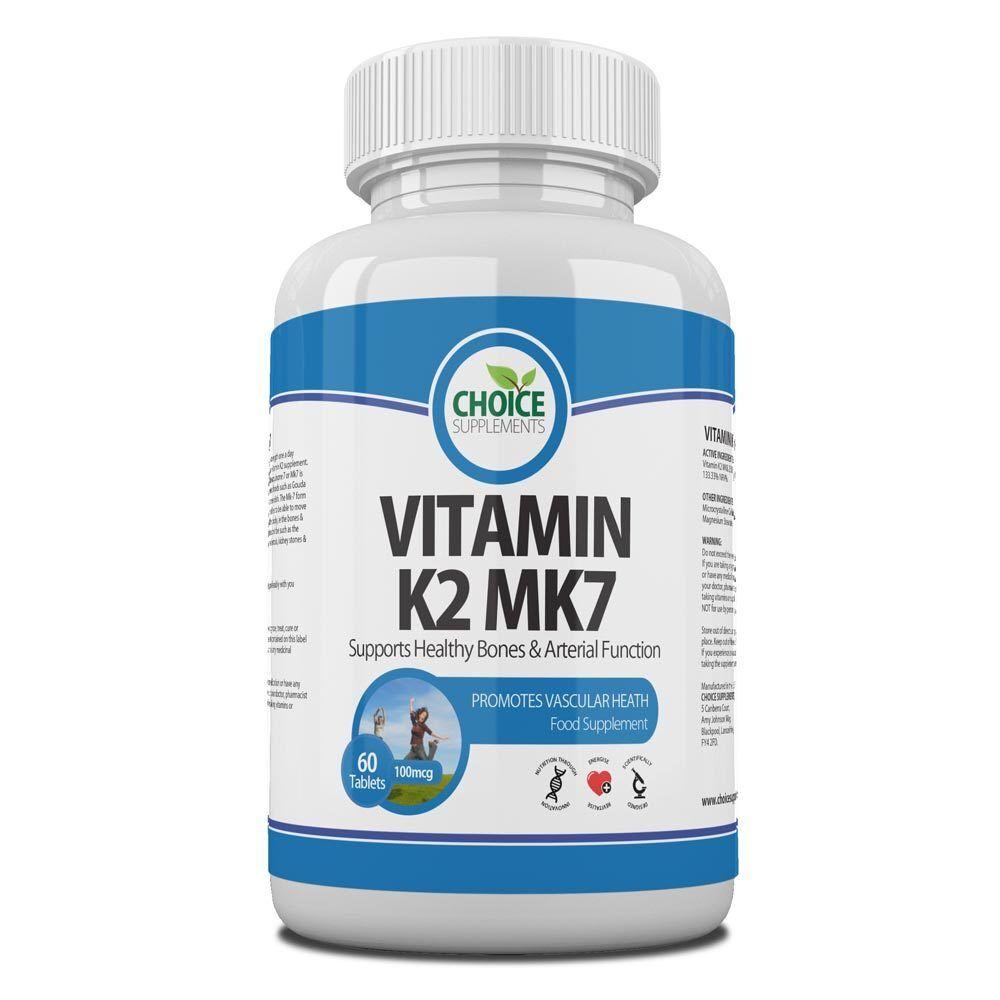 VITAMIN K2 100mcg MK7, Natural from Natto, Menaquinone High Strength, UK Made