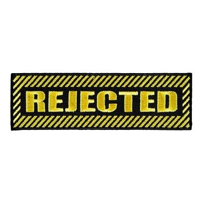 Rejected Black & Yellow Embroidered Patch, Sayings Patches - Black Sayings