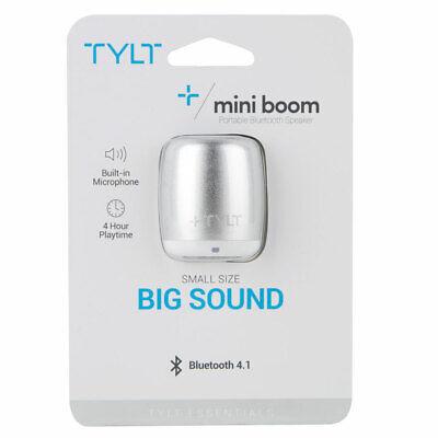 TYLT Mini Boom Portable Bluetooth Speaker with Microphone - Silver Mini Speaker Mic