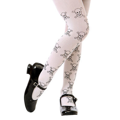 Skulls & Crossbones Pattern Halloween Gothic Punk Costume Tights for Girls Kids - Punk Halloween Costumes For Girls