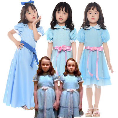 Grady Twin Lisa and Louise Girl Kids Dress Halloween Cosplay Costume The Shining