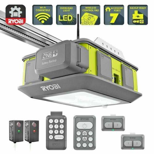 Ryobi 2HP Belt Drive Garage Door Opener Battery Backup WiFi New Ultra Quiet