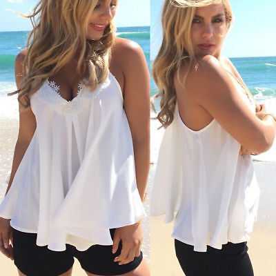 Women Lace Fashion Vest Top Sleeveless Casual Tank Blouse Summer Sexy T-Shirt Fashion Women Lace
