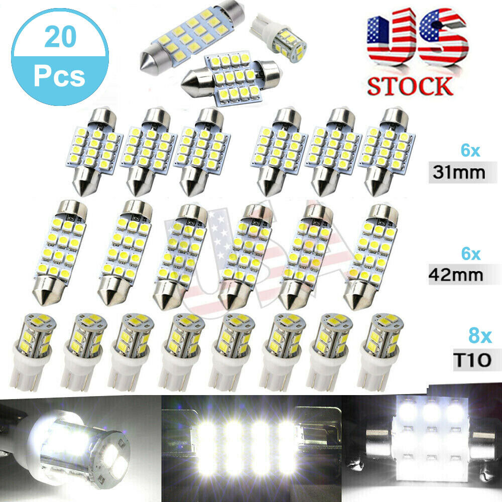20x Combo White LED Car Interior Inside Light Dome Map Door License Plate USA Car & Truck Parts