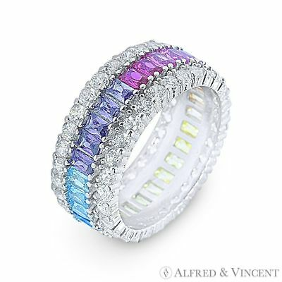 CZ Crystal Rainbow Anniversary Band 925 Sterling Silver w/ Rhodium Eternity Ring 925 Sterling Silver Crystal Ring
