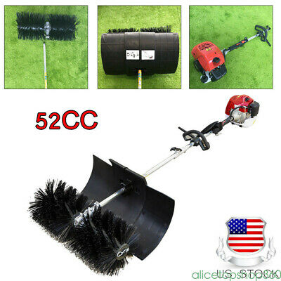 Gas Power Hand Held Sweeper Broom Cleaning Driveway Turf Grass Walk Behind 52cc