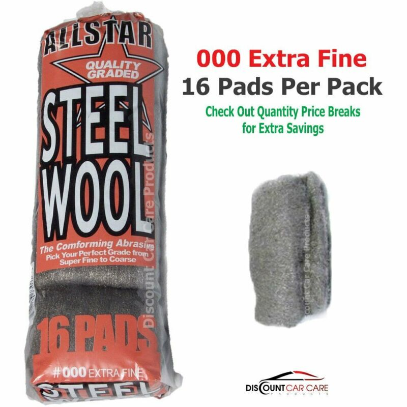 Extra Fine Steel Wool Pads # 000 - High-Quality Professional - 16 Pads Pack