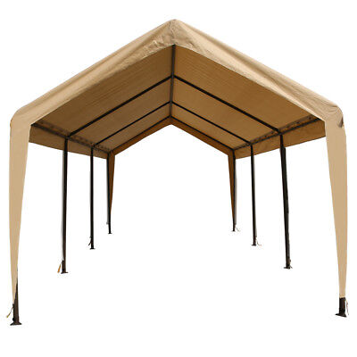 Tan Heavy Duty Canopy Tent 10x20 Carport Portable Car Steel Shelter 8 Legs