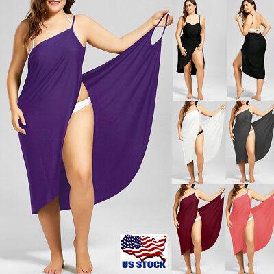 Women Swimwear Scarf Beach Cover Up Wrap Sarong Sling Skirt Maxi Dress Plus Size ()